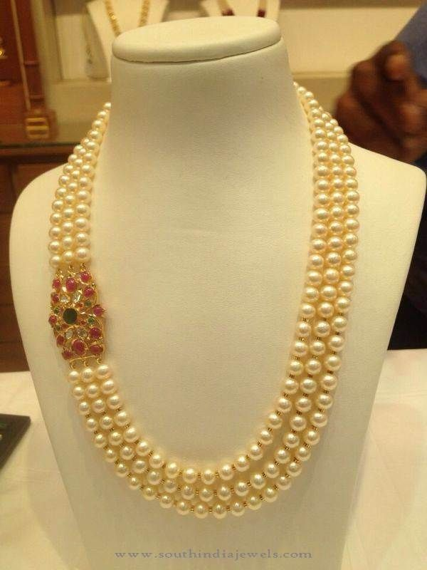 Three Layer Pearl Mala With Ruby Side Locket Pearl Necklace Designs Necklace