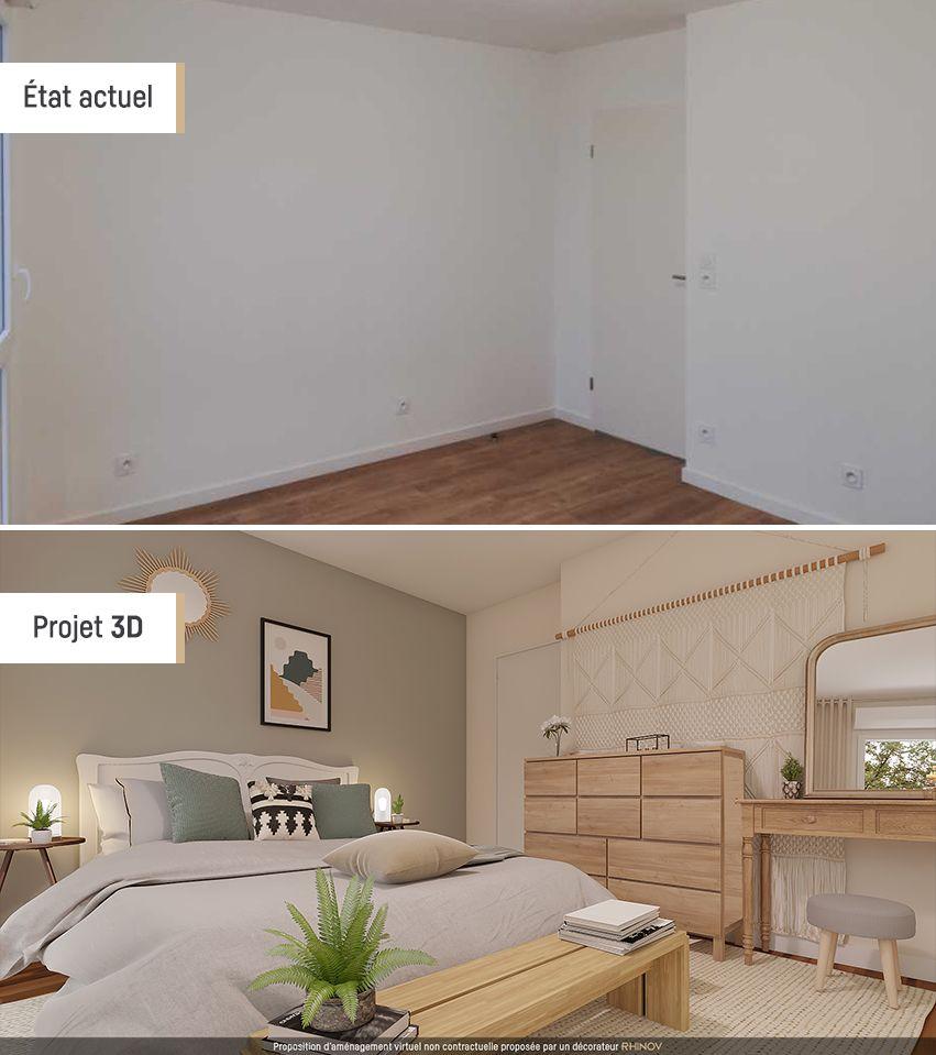 Avant / Après : Chambre style charme  Deco chambre a coucher