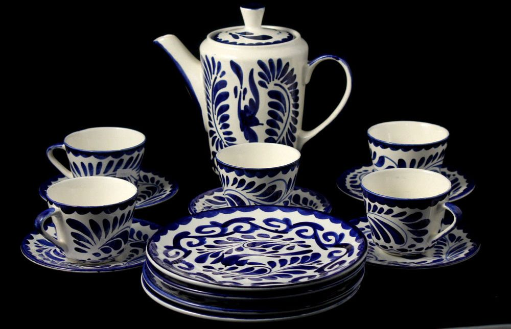 Anfora Ceramic Coffee/Tea Carafe Matching Cups/ Saucers, Dessert Plates.  Hand painted, Mexico  http://www.ebay.com/itm/Anfora-Ceramic-Coffee-Tea-Carafe-Matching-Cups-Saucers-Dessert-Plates-Mexico-/321579979032?ssPageName=STRK:MESE:IT