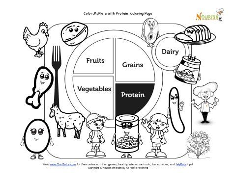 Printable Myplate Protein Coloring Sheet Coloring Pages Kids Nutrition My Plate
