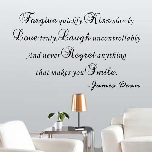 And Never Regret Anything That Makes You Smile - James Dean Wall Decal