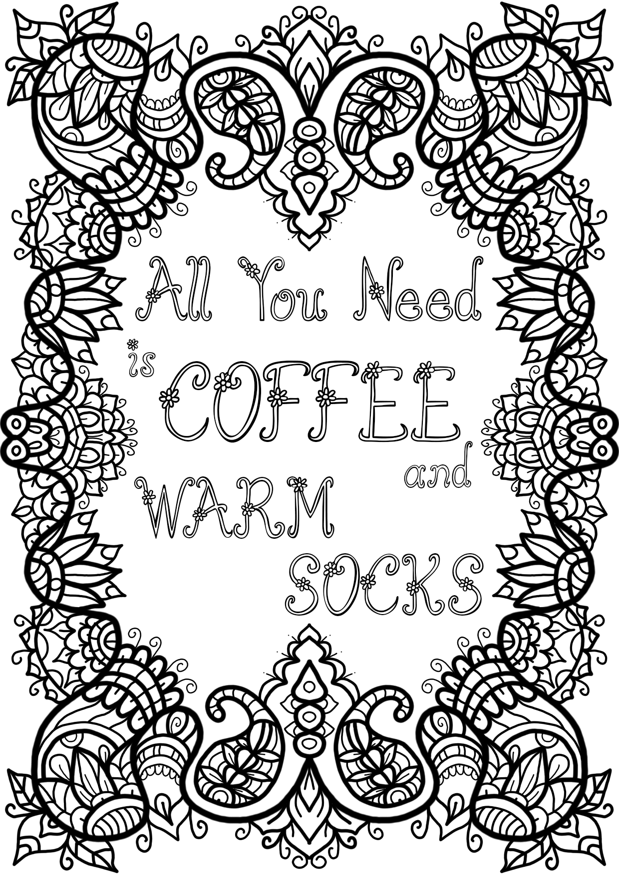 Free Colouring Page Coffee and Warm Socks by WelshPixie
