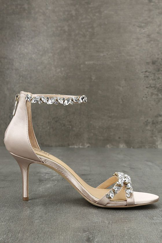 7dcde3386dd The Jewel by Badgley Mischka Caroline Champagne Satin Rhinestone Heels are  all about glitz and glamour! Luxe satin fabric covers these low heels with  a ...