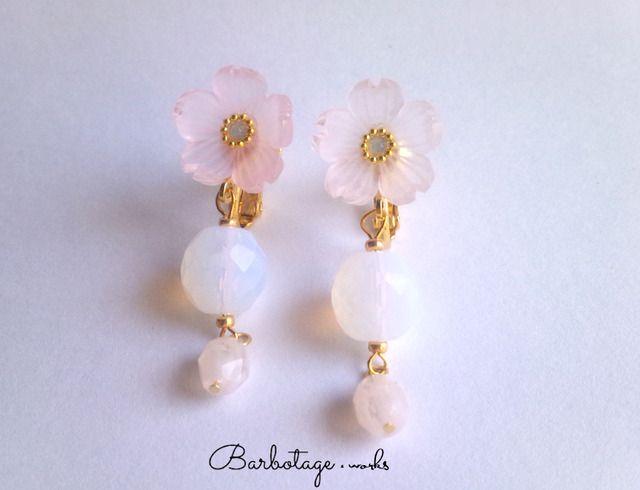 【数量限定】硝子桜とチェコビーズのイヤリング
