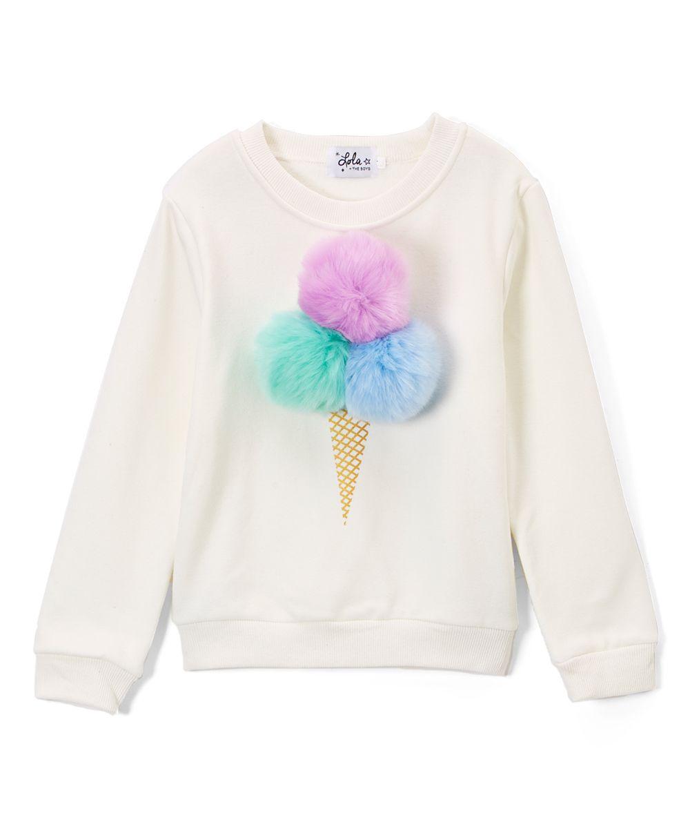 09f52932d6 White Ice Cream Fur Pompom Sweatshirt - Toddler & Girls | Products ...