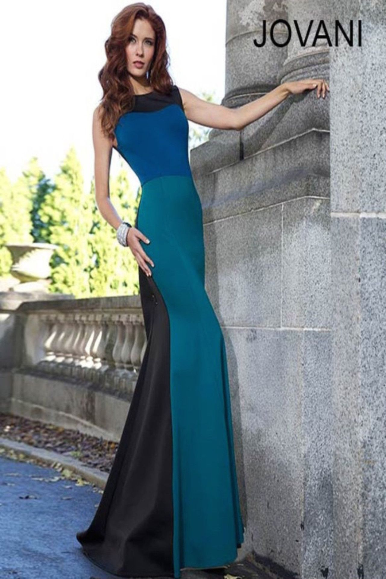 Jovani 93512 Blue and Black Colorblock Gown is now available on ...