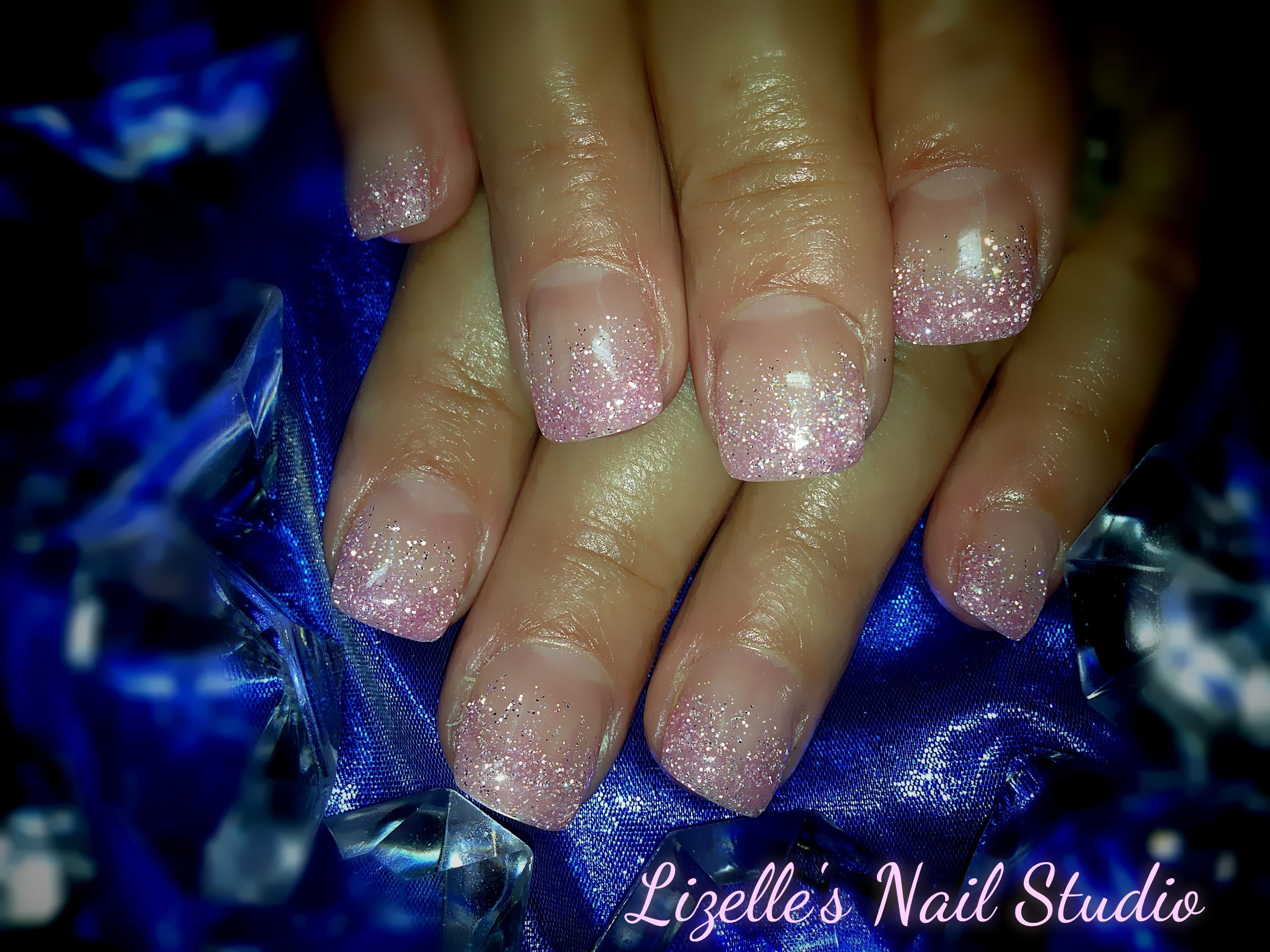 Soft pink glitter tips. Hand-painted nail art. Sculpted gel nails ...