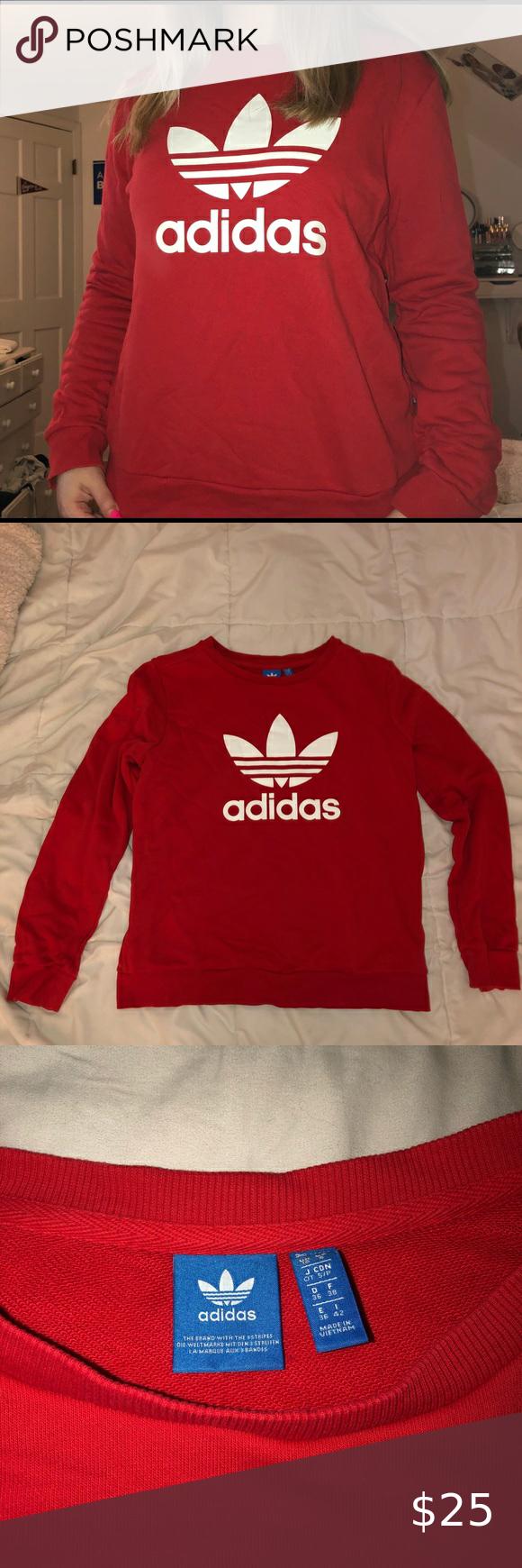 Red Adidas Crewneck In 2020 Red Adidas Adidas Tops Sweatshirt Tops [ 1740 x 580 Pixel ]