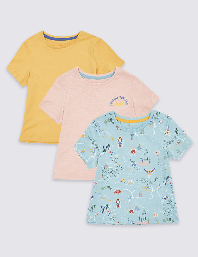 Marks And Spencer 3 Pack Pure Cotton Road Trip T Shirts 3 Months