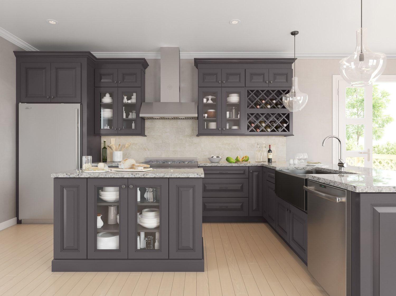 Oakland Gray Custom Kitchen Cabinets Kitchen Transitional Kitchen