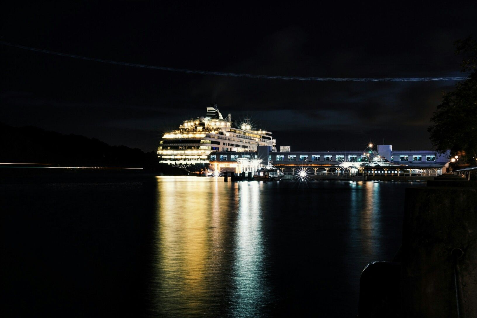 Ship, night scene, reflection