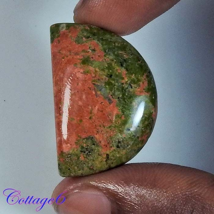 MESMERIZING!! NATURAL MULTI UNAKITE FANCY CABOCHON GEMSTONE 20x30x7 mm. #UNBRANDED