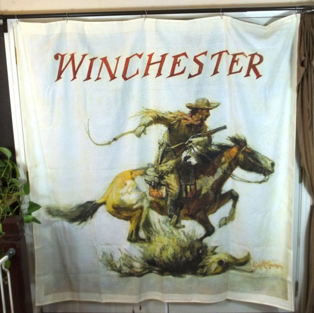 Great Western Hunting Cowboy Rodeo Winchester Lasso Horse Fabric Shower Curtain