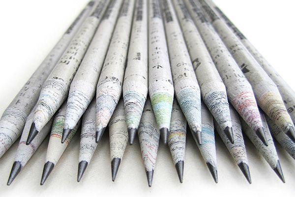 Friday Finds: Recycled Newspaper Pencils | via The Honest Company Blog