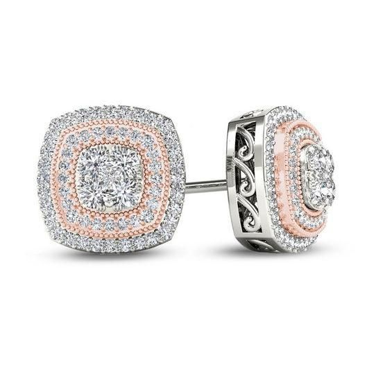 Zales 1/6 CT. T.w. Composite Diamond Marquise Frame Stud Earrings in 10K White Gold ryaAtvM