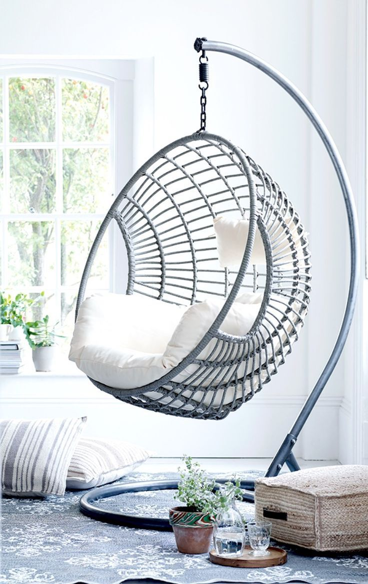 White Rattan Weave Hanging Swing Egg Chair Stand with Hanging Spring Max 150kg