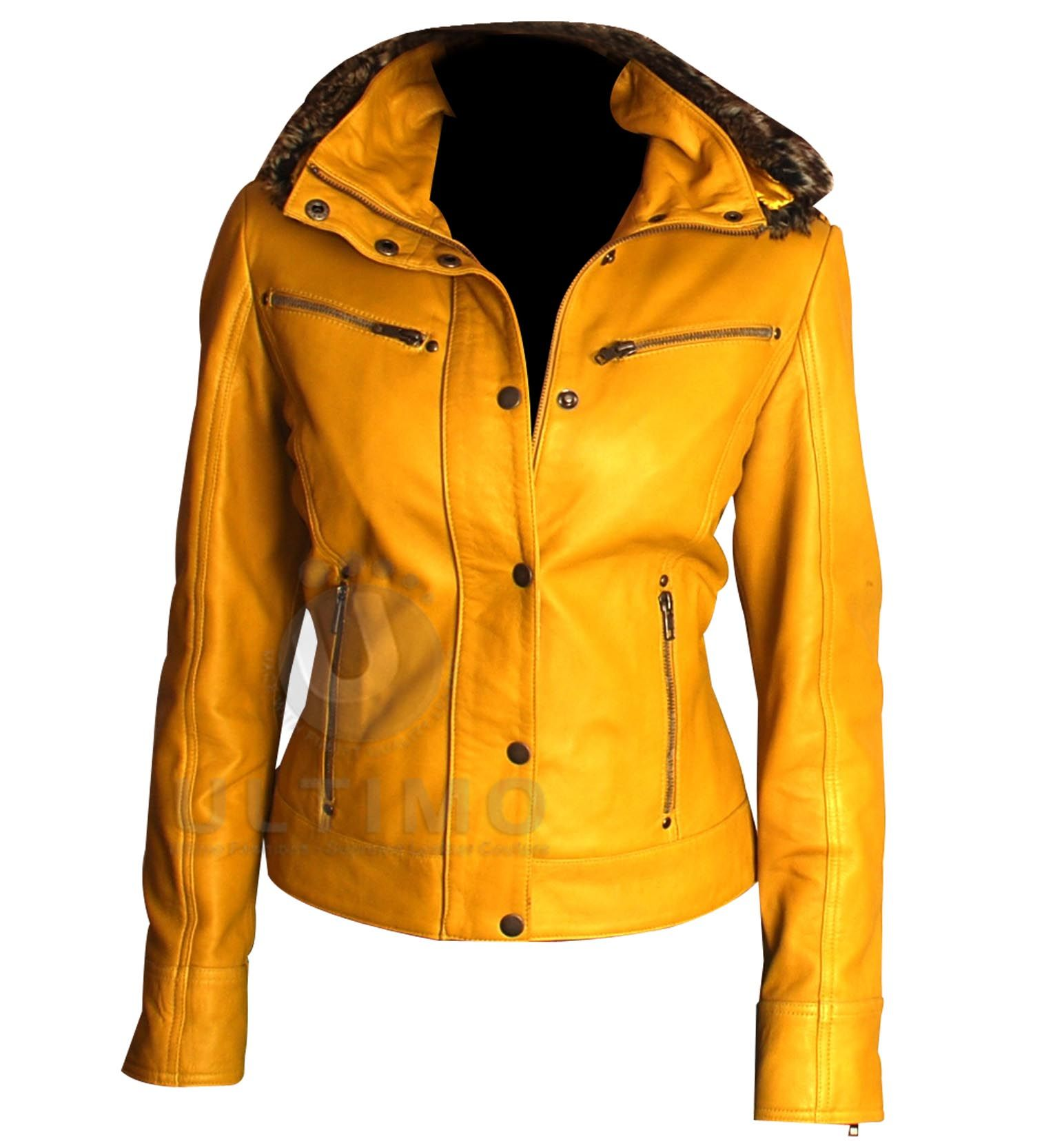 Women's Yellow Hooded Fur Biker Leather Jacket Leather