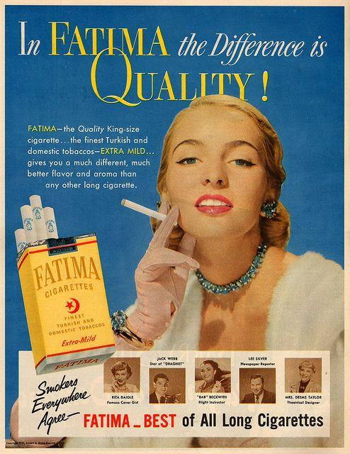 "Fatima cigarettes: ""In Fatima the difference is quality!"""