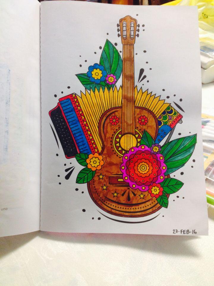 Guitarra Y Acordeon Acordeon Dibujo Dibujos De Guitarras Pinturas Mexicanas