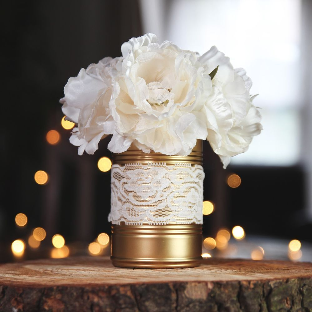 gold painted tin can rustic vintage wedding table. Black Bedroom Furniture Sets. Home Design Ideas