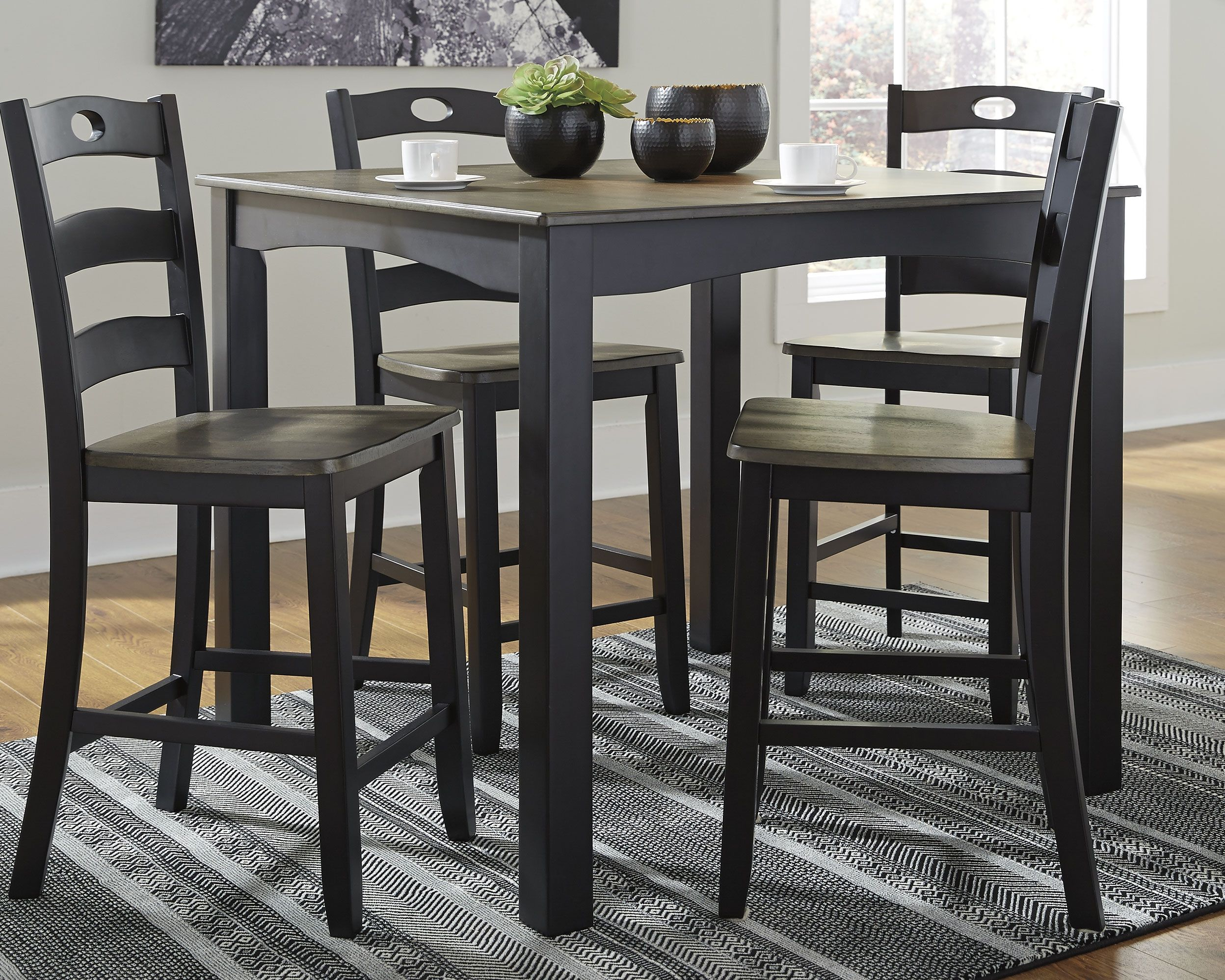 Serving Up A Cottage Chic Style With Sophistication This Table And Bar Stools Tall Kitchen Table Counter Height Dining Room Tables Counter Height Dining Table