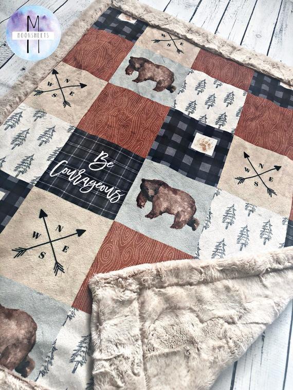 Woodland Cabin Minky Blanket #babyboyblankets
