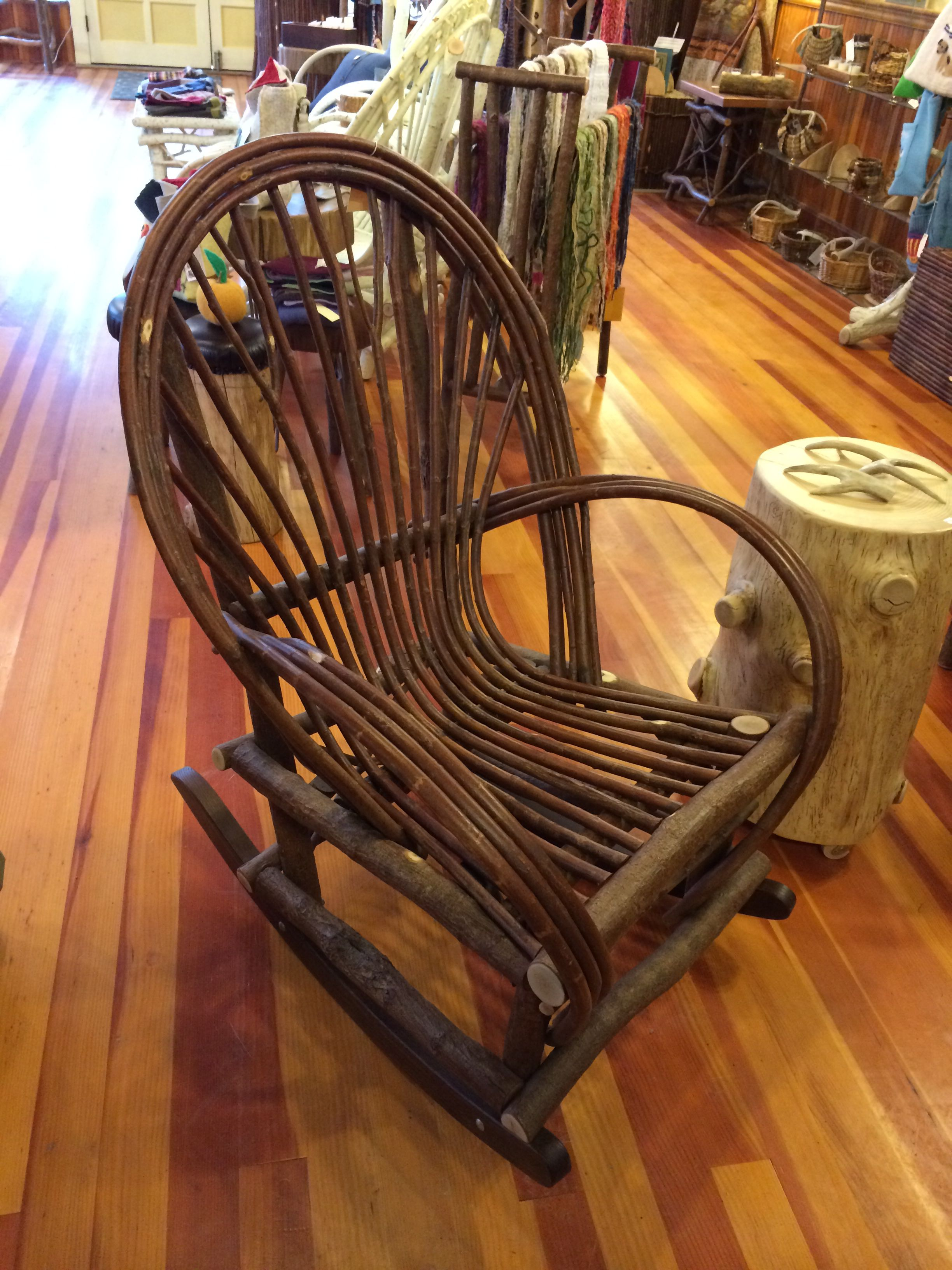 Absolutely beautiful homemade rocking chair. Gonna come back here one day when i have that