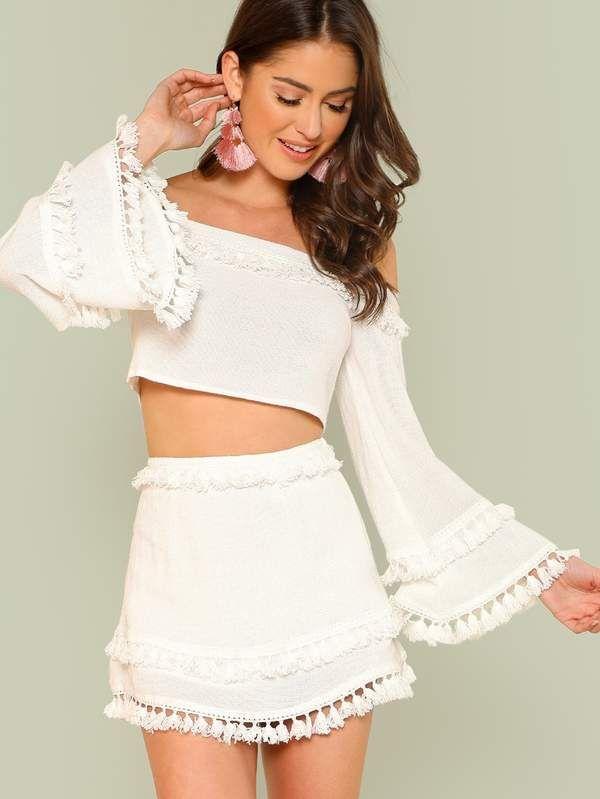 Bell Sleeve Layered Tassel Trim Crop Bardot Top & Skirt
