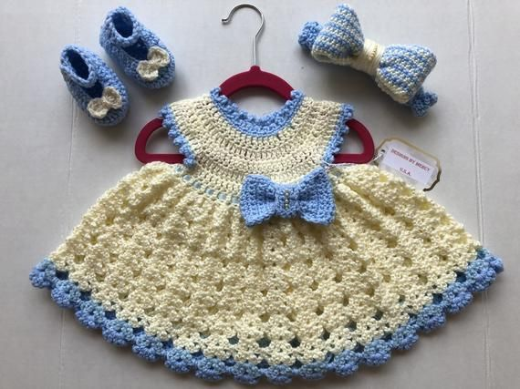 6afb0963e0a8 Baby Crochet Dress Blue Crochet Baby Girl Outfit Blue Crochet Baby ...