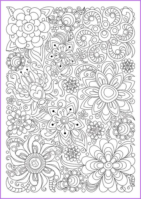 Soloring Page Doodle Flowers Printable Zen Doodle Pdf Zentangle Inspired Fargeleggingsark Fargelegging
