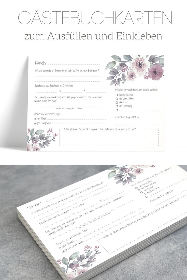 Gastebuchkarten Zum Ausfullen Und Einkleben Vintage Flower Boho Hochzeit Trend Gastebuch Frage Gastebuch Hochzeit Gastebuch Hochzeit Mit Fragen Hochzeit