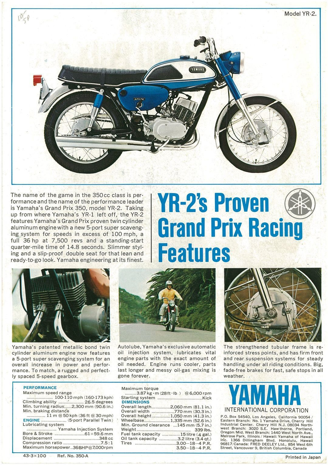 Yamaha Brochure Yr2 1968 1969 Sales Catalog Repro Ebay Yamaha Electric Scooter For Kids Bike Poster