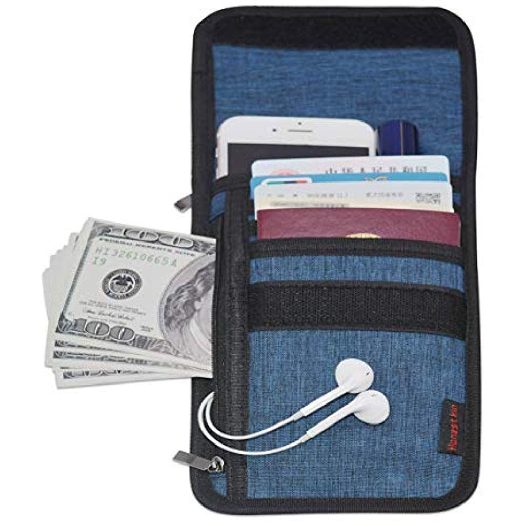 bf39234990d2 Travel Wallet w/RFID Blocking Passport Holder Neck Pouch Warrant ...