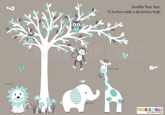 Nursery Decal, Jungle Wall Decals, Nursery Wall Decal, Giraffe ...