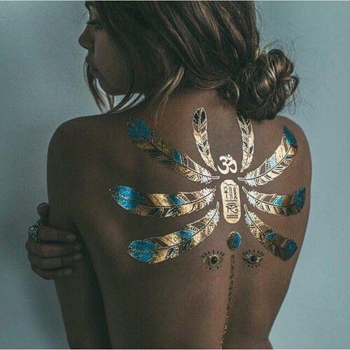 Imagen de girl, tattoo, and gold