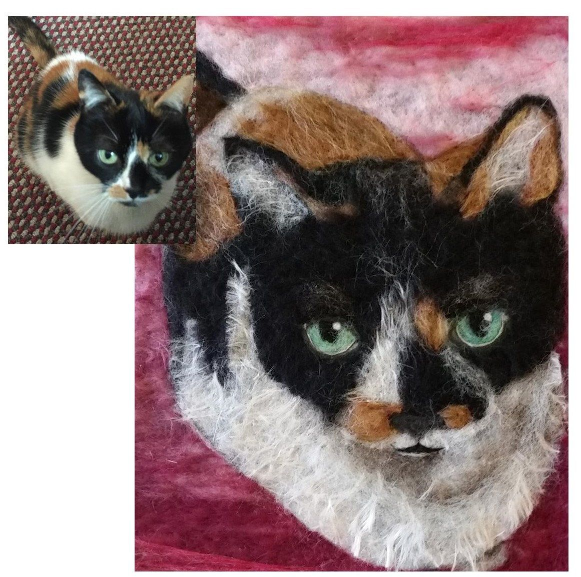 A needle felt portrait of your dog, cat or other pet made