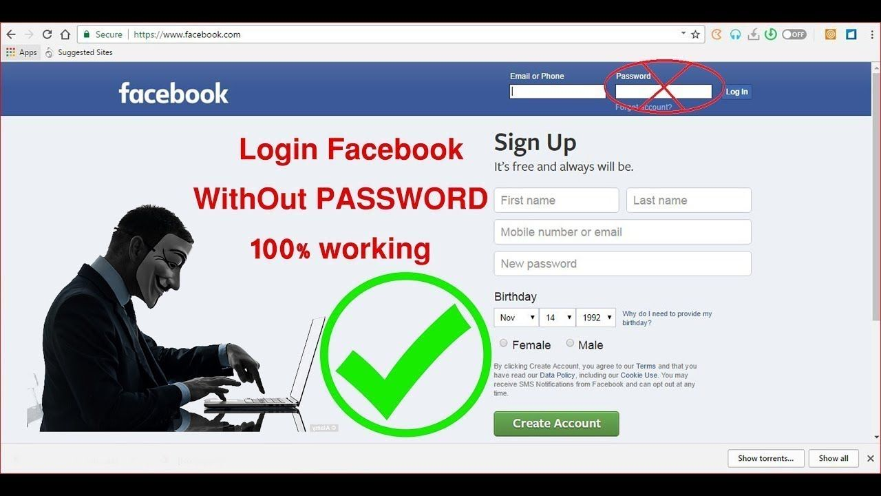 How to login Facebook without password 100% working 2018    tips and