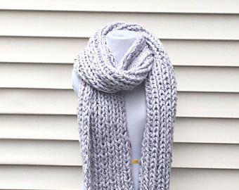 THE WONDERLAND••Chunky lilac scarf, long chunky scarf, long scarf, thick long scarf