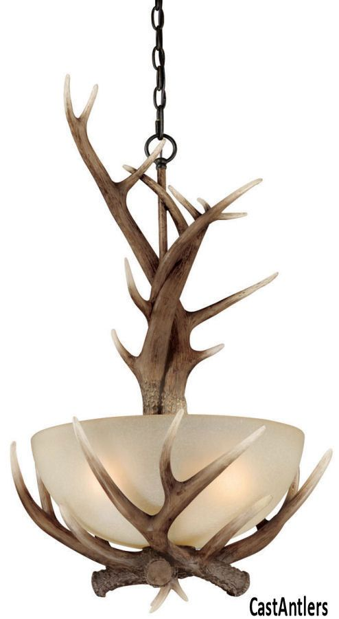 rustic lodge cabin deer faux antler chandelier pendant 3 light