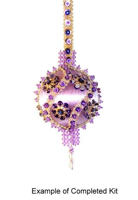 beaded ornaments | Beaded Satin Christmas Ornaments