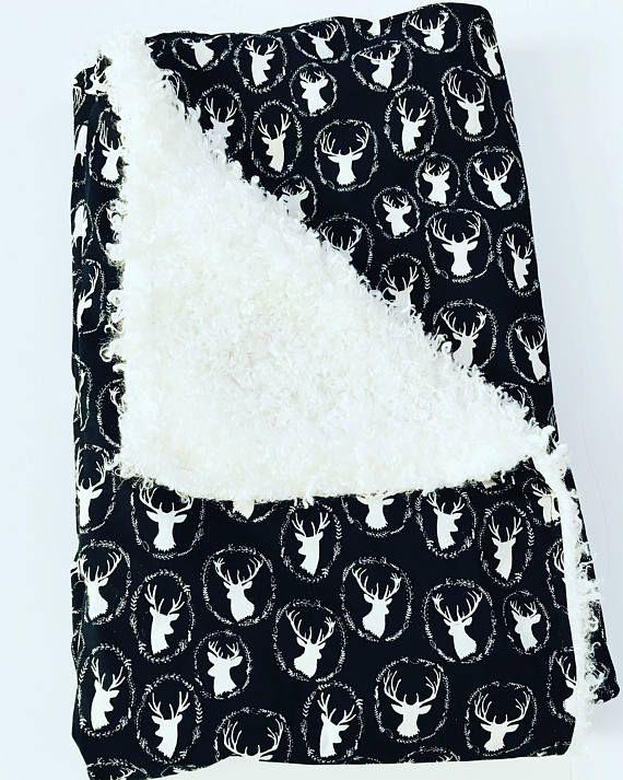 Large Baby Blanket • Deer Baby Blanket • Swaddle • Blanket • Receiving • Black White • Christmas • Baby • Gift • BizyBelle