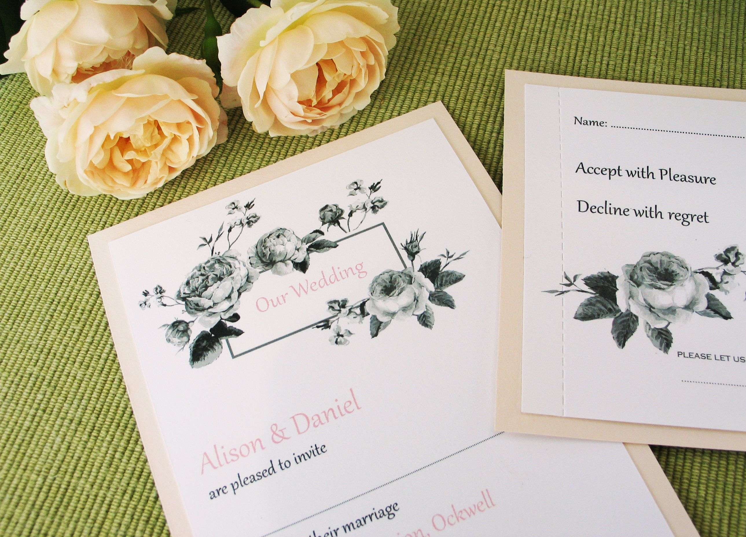 Lucien blush pink botanical rose wedding invitation. | Millbank and ...