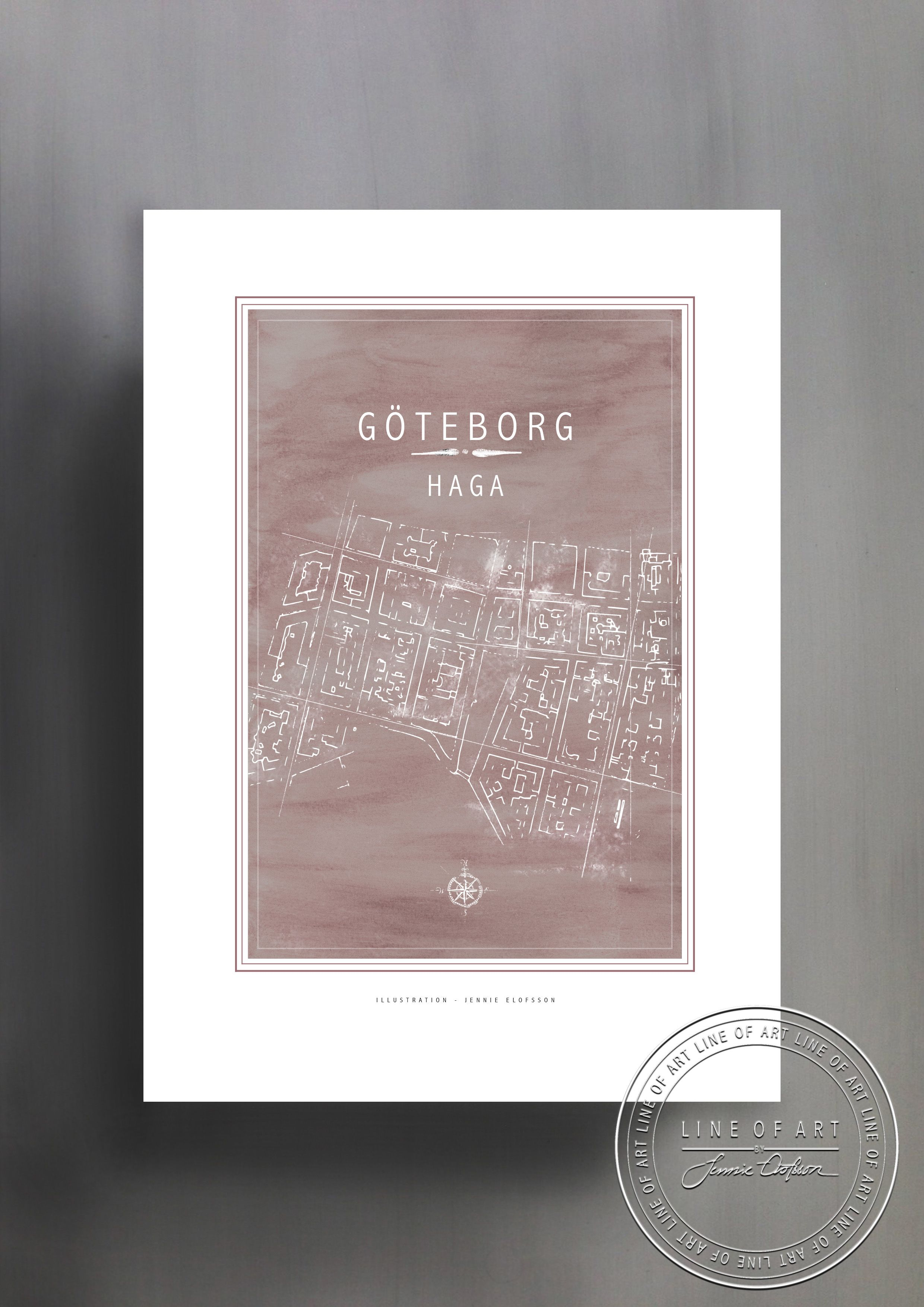 karta haga göteborg GÖTEB| HAGA | ROSA | © Line of Art by Jennie Elofsson  karta haga göteborg