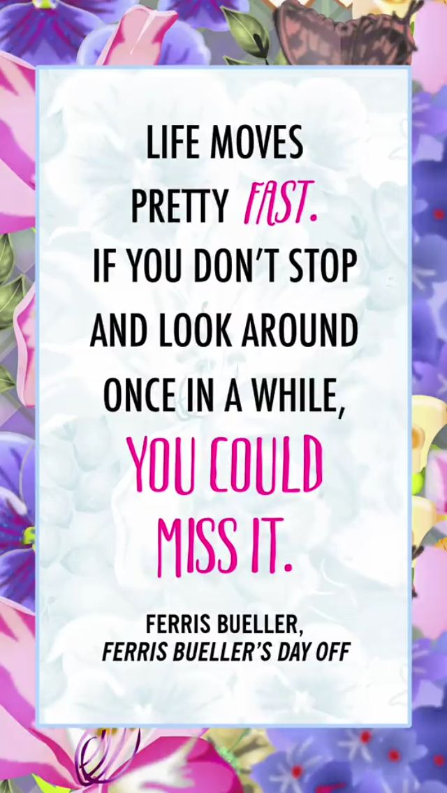Ferris Bueller Quote Life moves pretty fast, Jokes