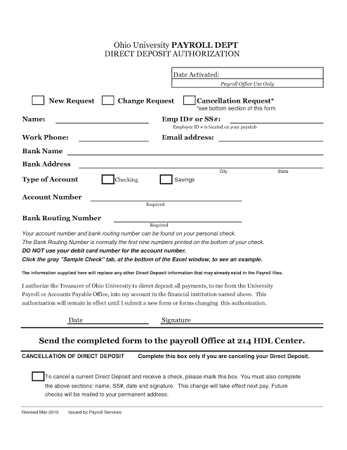 Direct Deposit Form   Project Management   Pinterest   Template and ...
