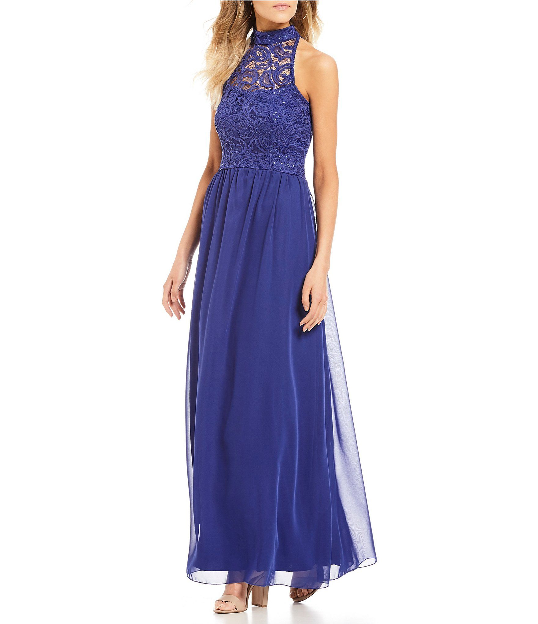 Xtraordinary Sequin Lace Bodice Long Dress | Lace bodice, Dillards ...