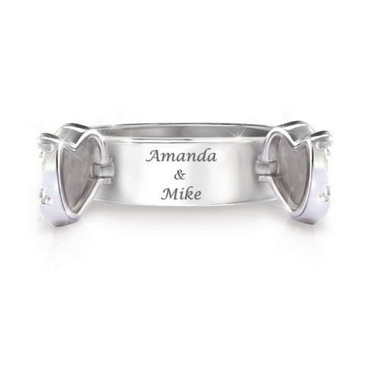 Together As One Personalized White Topaz Ring