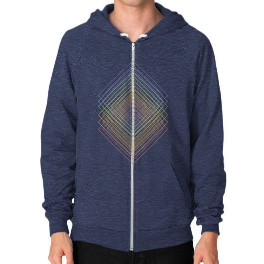 Geometric colored squared echo lineart Zip Hoodie (on man)