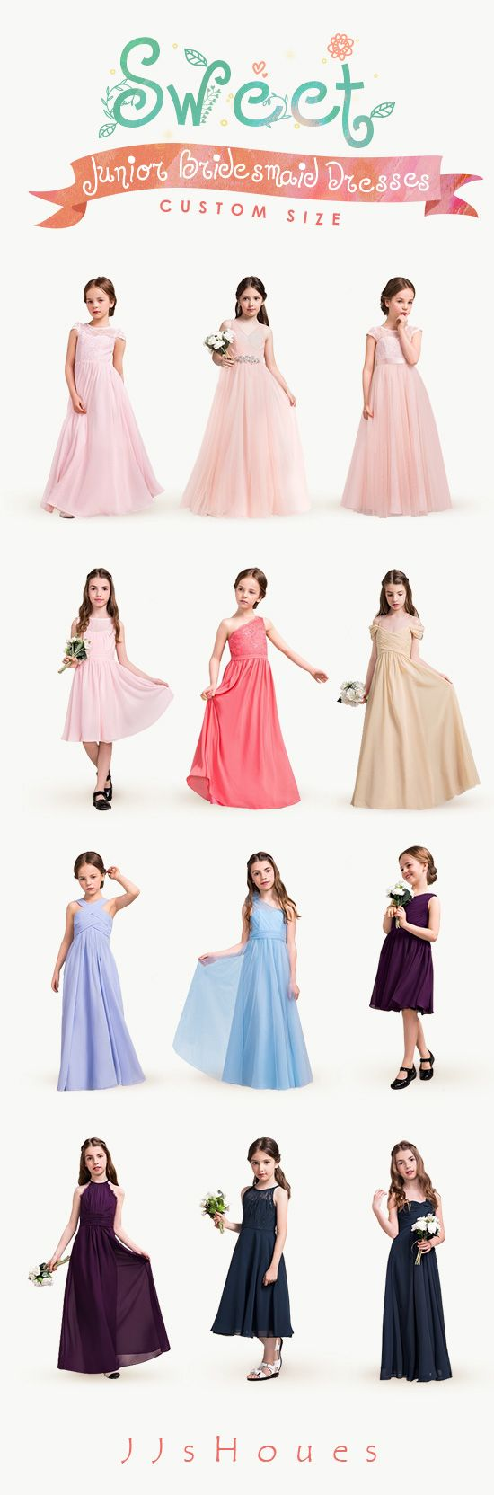 Sweet Junior Bridesmaid Dresses! CUSTOM SIZE! #Bridesmaiddresses ...