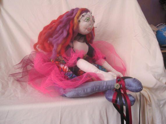 Unusual handmade doll. 17 tall